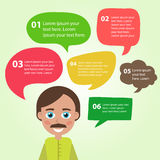 Person icon with colorful dialog speech bubbles. Royalty Free Stock Photography