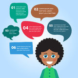 Person icon with colorful dialog speech bubbles. Stock Image