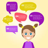 Person icon with colorful dialog speech bubbles. Royalty Free Stock Photos