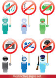 Person icons and restrictive signs Stock Photography