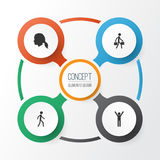 Person Icons Set Collection de pulser, tête de dame, la livraison Person And Other Elements Inclut également des symboles Images libres de droits