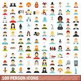 100 person icons set, flat style. 100 person icons set in flat style for any design vector illustration Royalty Free Illustration