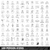 100 person icons set, outline style Royalty Free Stock Photo