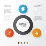 Person Icons Set Raccolta del maschio, della persona di consegna, del funzionamento e di altri elementi Inoltre comprende i simbo Immagini Stock Libere da Diritti