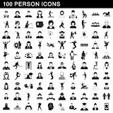 100 person icons set, simple style. 100 person icons set in simple style for any design vector illustration Stock Photography