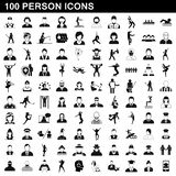 100 person icons set, simple style. 100 person icons set in simple style for any design illustration stock illustration