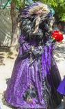 Person im aufwändigen Kostüm mit Rabenkopf und -schnabel und indianischer angeredeter Feder headress- und Purpurroter Brokat klei lizenzfreie stockbilder
