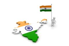 Person with Indian flag and map Royalty Free Stock Photos