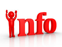 Person and information. 3d person is replacing the first letter of Info word Royalty Free Stock Image