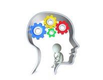 Person inom det mänskliga huvudet stock illustrationer