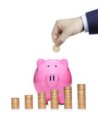 Person inserting a coin into a  pink piggy bank Royalty Free Stock Images