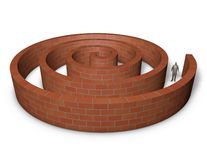 Person inside a maze made of bricks. Stock Photography