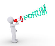 Person inviting to forum. 3d person is shouting FORUM through a megaphone Stock Photography