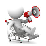 Person ith megaphone inside shopping cart Royalty Free Stock Photography