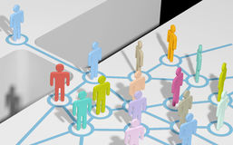 Person join social or business network. Person bridging gap to connect and join social media network or team vector illustration