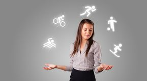 Person juggle with hobbies concept. Young student juggle with sports concept stock photography