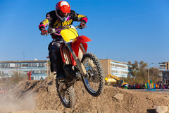 Person jumping on dirt bike Royalty Free Stock Photography