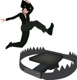 Person jumping iron vice trap Stock Images
