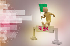 Person jumping over word risk with flag Stock Image