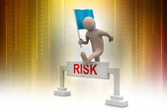 Person jumping over word risk with flag Stock Photo