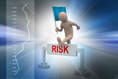 Person jumping over word risk with flag Royalty Free Stock Photography