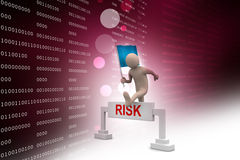 Person jumping over word risk with flag Stock Photography