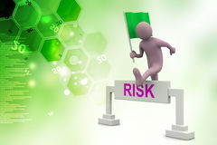 Person jumping over word risk with flag Royalty Free Stock Images
