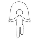 Person jumping rope pictogram icon Royalty Free Stock Image