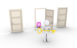 Person with key is offering access to door with profit. 3d person holding a key is in front of doors and one leads to earnings Stock Photos