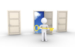 Person with key is offering access to special door. 3d person holding a key is in front of doors and one leads to the sky Stock Images