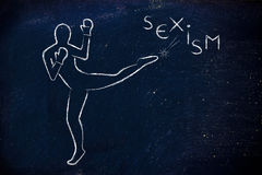 Person kicking and boxing against sexism Royalty Free Stock Image