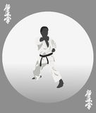 The person in a kimono is engaged in karate Royalty Free Stock Images