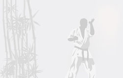 The person in a kimono is engaged in karate Royalty Free Stock Photo