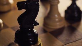 Person Knocks abajo acuña el montón pone macro del caballo de la pieza de ajedrez almacen de metraje de vídeo