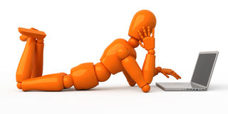 Person with laptop. It's possible to insert a necessary image into the laptop's screen. Look at more images with orange mannequin in my portfolio Stock Photo