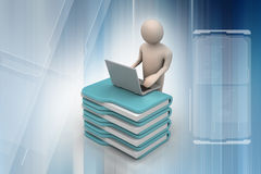Person with a laptop on file folders Royalty Free Stock Photos