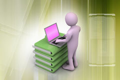Person with a laptop on file folders Stock Images