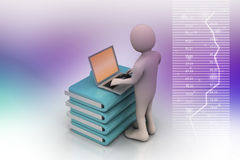 Person with a laptop on file folders Royalty Free Stock Image