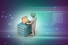 Person with a laptop on file folders. In color background Stock Photo
