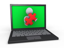 Person through laptop holding puzzle piece Stock Image