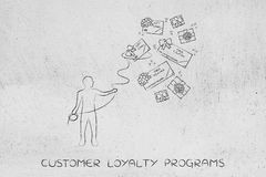 Person with lasso catching free coupons, client rewards Stock Images