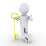 Person leaning on dollar-key. 3d person is leaning on a golden dollar-key Royalty Free Stock Images