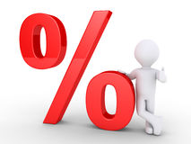 Person leaning on a percent symbol. 3d person is leaning on a big percent symbol Stock Image