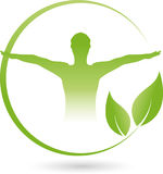 Person and Leaves, Fitness and Alternative Therapist Logo. Person and Leaves, Colored, Fitness and Alternative Therapist Logo royalty free illustration