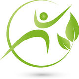 A person and leaves, naturopath and wellness logo Royalty Free Stock Image