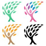 Person life tree logo vector illustration group. Beautiful simple clean looking people lifestyle tree logo design in green, rainbow, black and fall colors. Sharp stock illustration