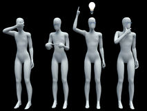 Person and a light bulb. Concept of idea Stock Photos