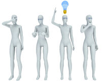 Person and a light bulb. Concept of idea.  Stock Image