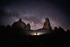 Person Light Painted in the Desert Under the Night Sky stock image