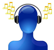 Person listening to music royalty free illustration